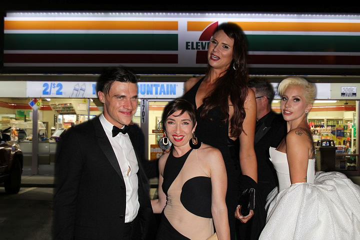 Lady Gaga poses with  local townsfolk at the official opening of the first 7-11 in Greenville, Mississippi