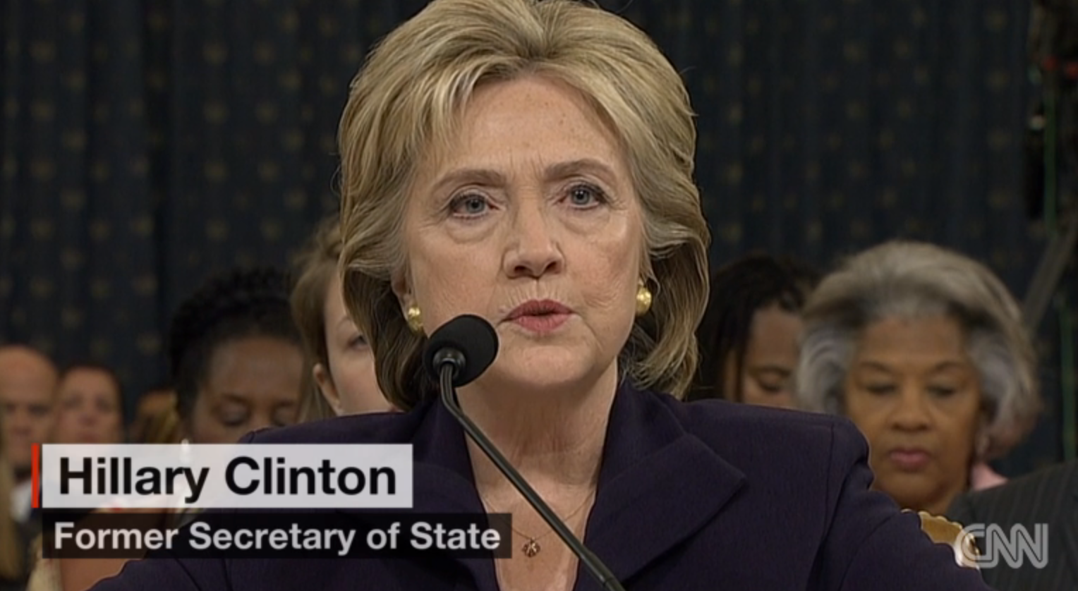 Former State Secretary Hillary Clinton at the U.S. Congress Benghazi hearing