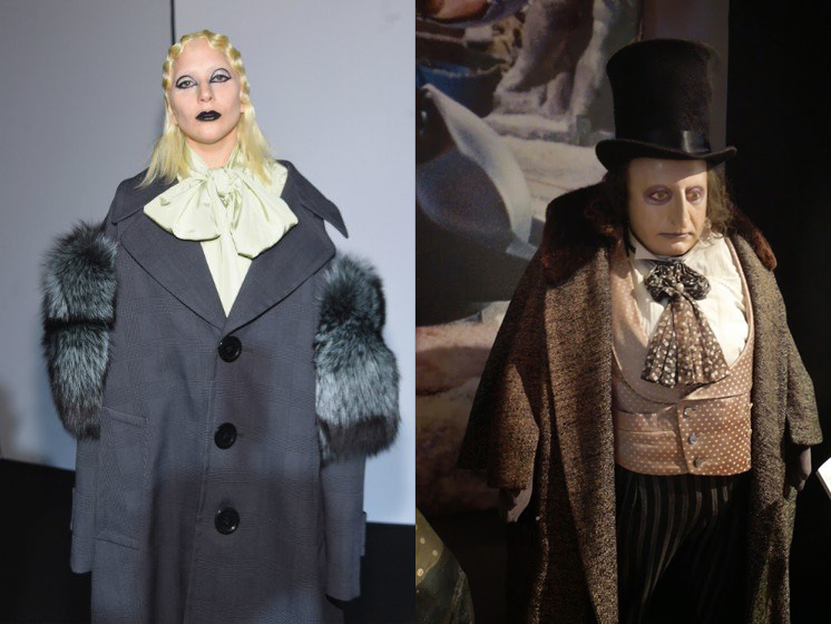 On the left, Lady Gaga as 'Nouveau Penguin'; on the right, Danny DeVito in the iconic role from 'Batman Returns.'