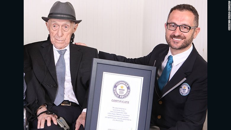 A representative of the Guinness World Records organization confirmed Friday that Israel Kristal of Haifa, Israel, is now the world's oldest living man.