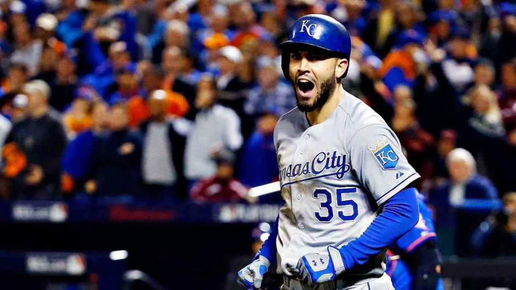 "Eric Hosmer downplayed being a hero. ""You see someone fall, you should help her up,"" he said. Al Bello/Getty Images"