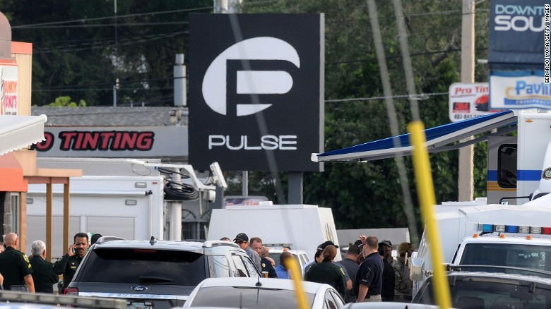 Orlando police officers seen outside of Pulse nightclub