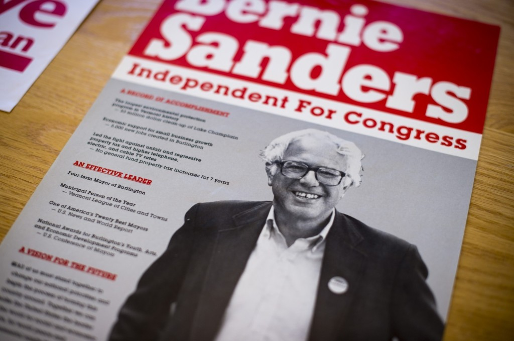 The Vermont Historical Society, in Barre, Vt., has posters and pamphlets from Bernie Sanders's first congressional campaign. (Jabin Botsford/The Washington Post)
