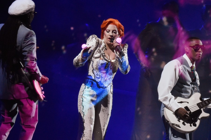 Lady Gaga performs at the 58th Grammy Awards in Los Angeles