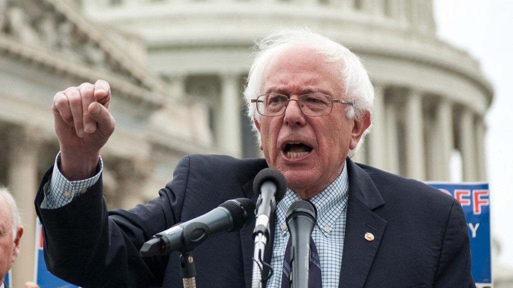 Bernie Sanders making a point at a campaign stop